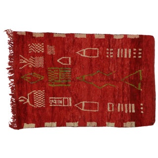 """Vintage Berber Moroccan Red Rug With Cubism Style and Tribal Design, 5'3"""" X 7'8"""" For Sale"""