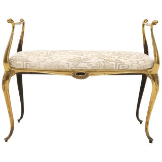French Brass New Linen Upholstery Window Bench With Arms For Sale