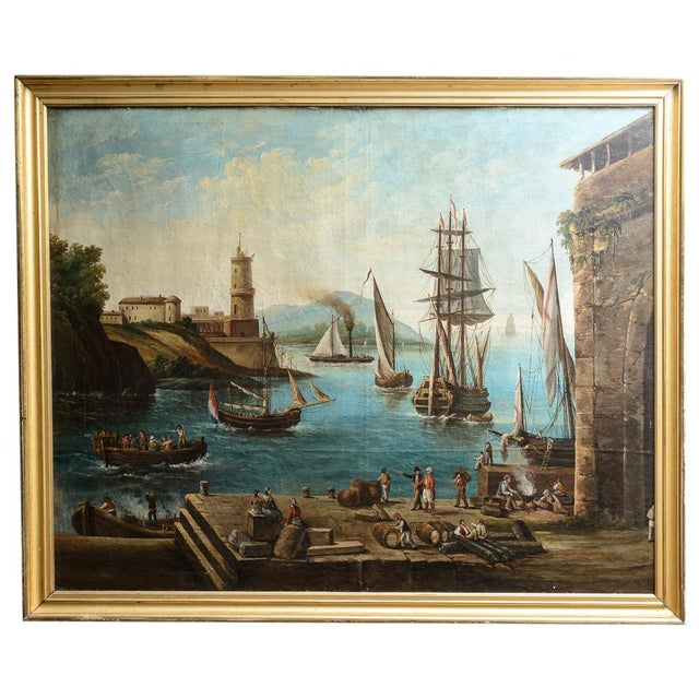 Harbour Scene Oil Painting For Sale - Image 9 of 9
