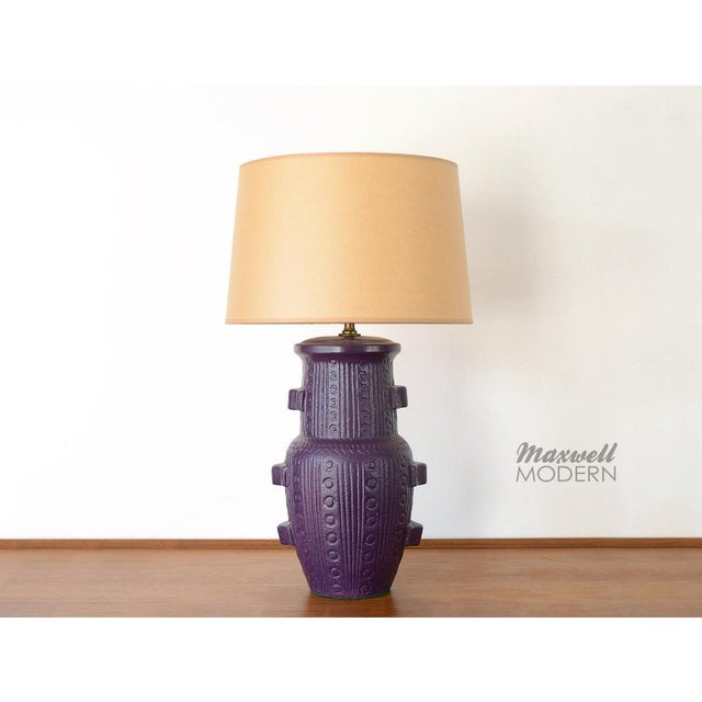 Extraordinarily beautiful purple mid century ceramic table lamp! Amazing texture and color that's rarely seen on a table...