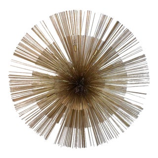 Curtis Jere Brass Nest Flush Light Chandelier For Sale