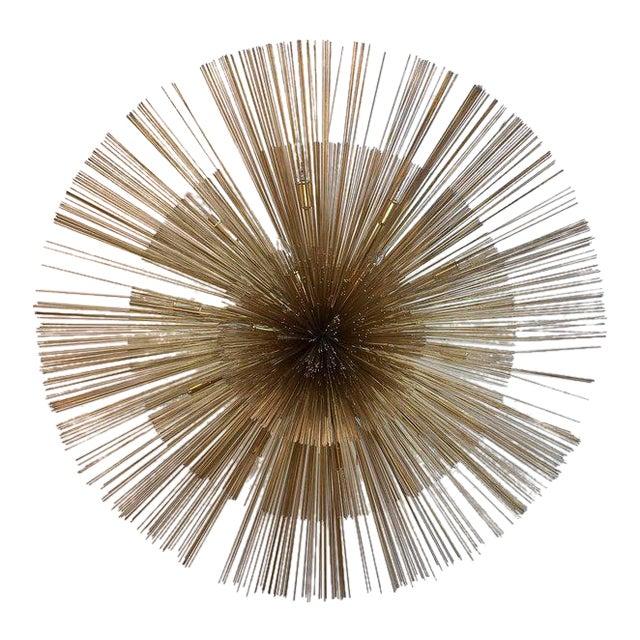 Curtis Jere Brass Nest Flush Light Chandelier For Sale