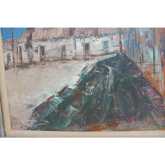 Blue Expressionist Oil on Canvas Cityscape Painting For Sale - Image 8 of 9