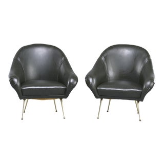 Pair Mid Century Italian Lounge Chairs With Narrow Brass Legs For Sale