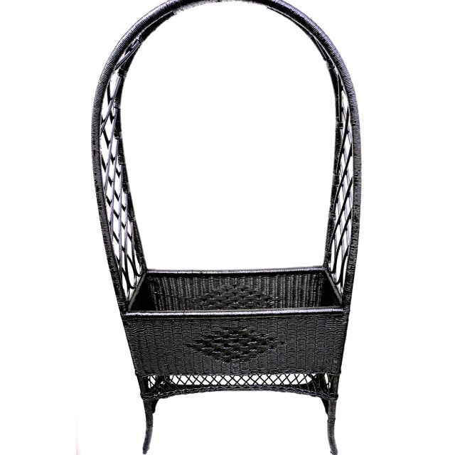 Black Lacquered Wicker Plant Stand Arched Trellis Fernery Box For Sale - Image 9 of 11