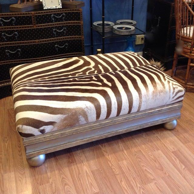 Enormous Zebra Hide Ottoman For Sale - Image 13 of 13