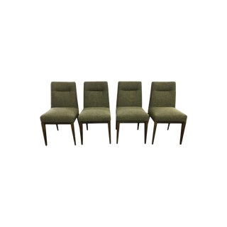 Calligaris Italy Olive Tweed Weave Upholstered Dining Chairs - Set of 4 For Sale