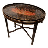 Image of Chinoiserie Maitland Smith Hand Painted Lacquered Occasional Table For Sale