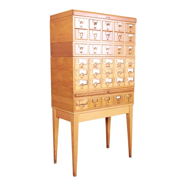 Mid-Century Modern 35-Drawer Library Card Catalog by Remington Rand For Sale