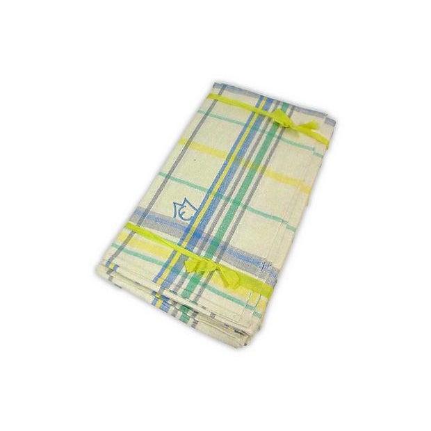 Blue Green Linen Monogrammed M/E Towels - Set of 6 - Image 3 of 4