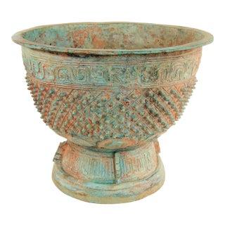 Antique Chinese Diamond & Boss Bronze Jardiniere For Sale