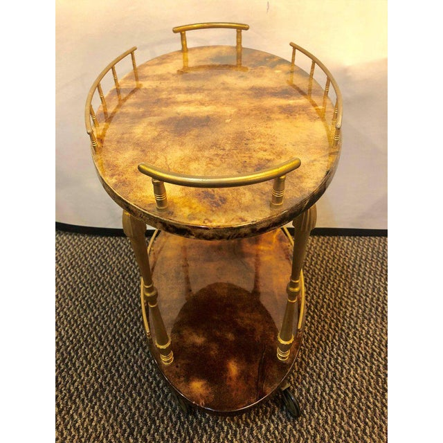 Animal Skin Mid-Century Modern Aldo Tura Diminutive Modern Goat Skin Trolly or Serving Wagon For Sale - Image 7 of 10