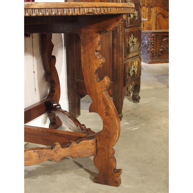 18th Century Italian Walnut Wood Demi Lune Console Table For Sale - Image 10 of 13
