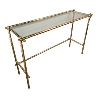 Vintage Gold Toned Metal Bamboo and Glass Console