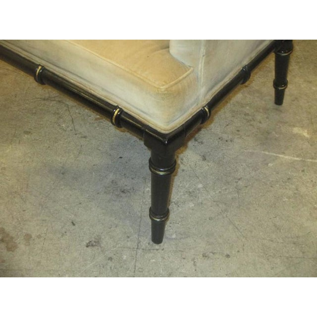 Pair of Upholstered and Ebonized Faux-Bamboo Armchairs For Sale - Image 4 of 5