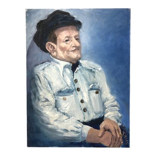 """1970s """"Joe"""" Portrait of a Man Oil Painting by Ana Sauer For Sale"""