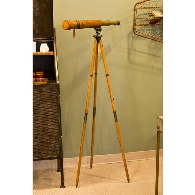 Animal Skin Antique World War 1 Field Artillery Telescope For Sale - Image 7 of 7
