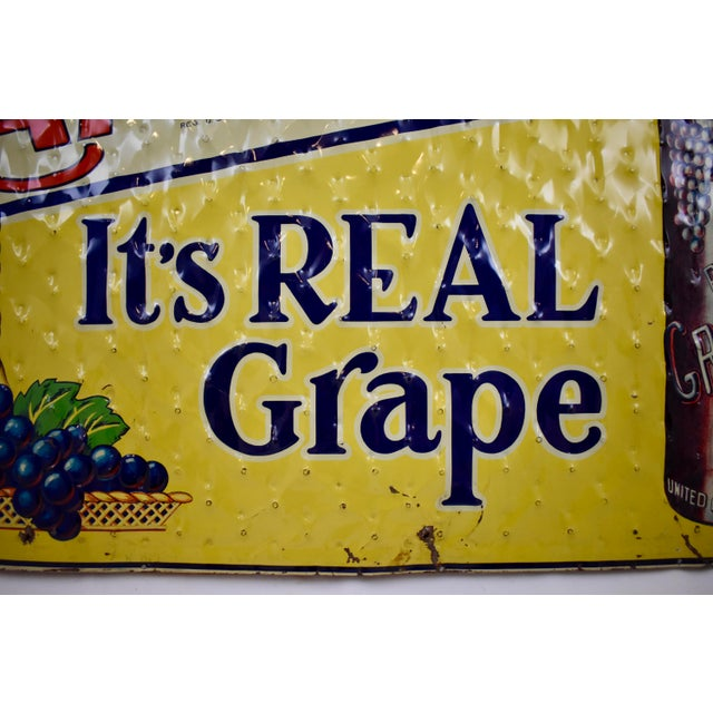 Blue Quilted Tin Advertising Sign, Early 20th-C. Grape Ola Soda For Sale - Image 8 of 11