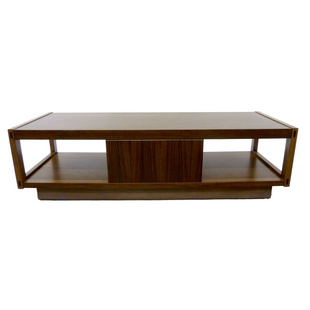Architectonic Walnut Coffee Table by Lane For Sale
