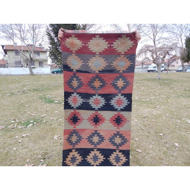 "Vintage Muted Orange Turkish Kilim Runner Rug 2'6"" X 9'4"" For Sale - Image 10 of 13"