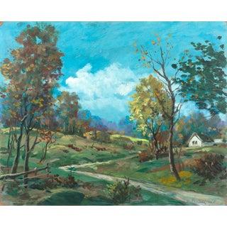 Rustic Lane Landscape Painting For Sale