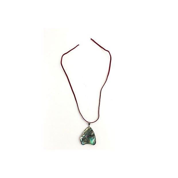 Late 20th Century Abalone Shell Sterling Pendant Necklace For Sale - Image 5 of 7