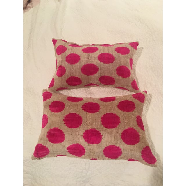 Pink Dots Handmade Pillows - A Pair For Sale - Image 9 of 9