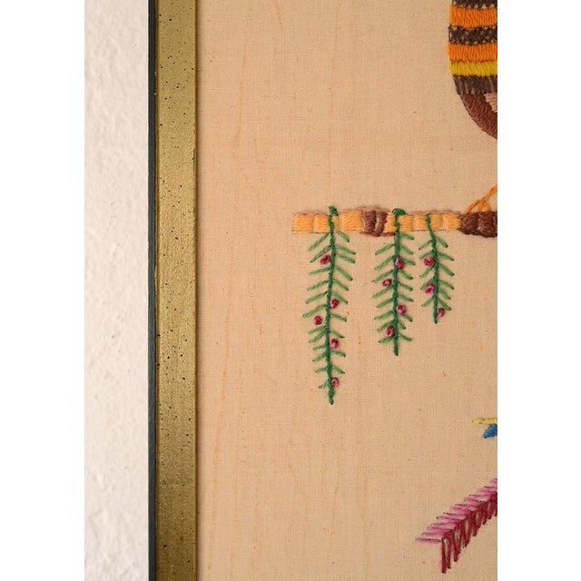 Mid Century Three Birds Crewel Embroidery Wall Hanging For Sale - Image 9 of 13