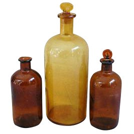 Antique French Apothecary Bottles - Set of 3 - Image 1 of 3