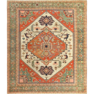 Room Size Antique Serapi Persian Ivory Rug - 9′11″ × 12′ For Sale