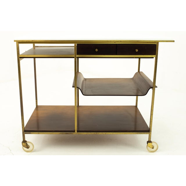 Paul McCobb Mid Century Bar Cart 18 wide x 36 length x 29.5 high When you purchase a piece we carefully clean and prepare...