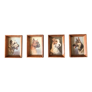 Gallery Wall Collection 4 Vintage Small Dog Prints Original Frames 1950's For Sale