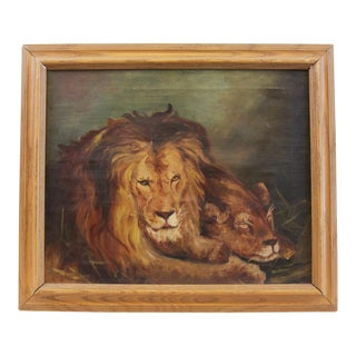 Early 20th Century Antique Lion Painting For Sale