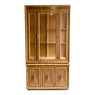 Vintage Contemporary Bamboo Trim Display Cabinet For Sale