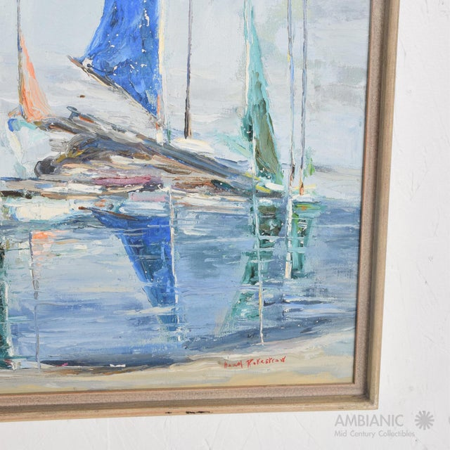 1950s Oil in Canvas Hazel Rakestraw, Sailing Boats California Modern For Sale - Image 5 of 9