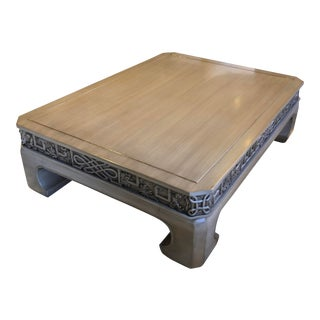 Traditional Custom Chow Hand-Carved Coffee Table For Sale