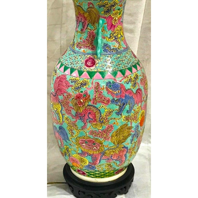 Exquisite Chinese Famille Rose Foo Dog Motif Vase, Now as a Lamp For Sale - Image 4 of 10
