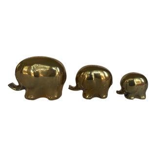 Vintage Brass Elephants - Set of 3 For Sale