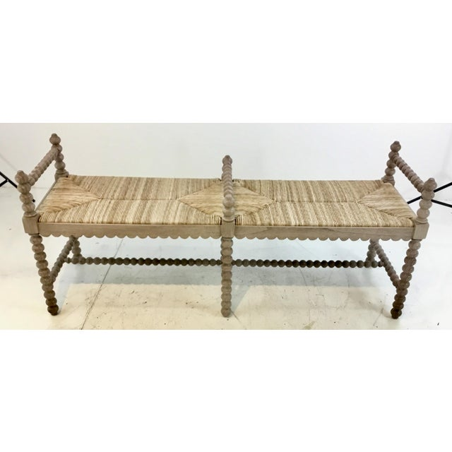 Sensational Vintage Style Turned Wood And Rush Bench Andrewgaddart Wooden Chair Designs For Living Room Andrewgaddartcom