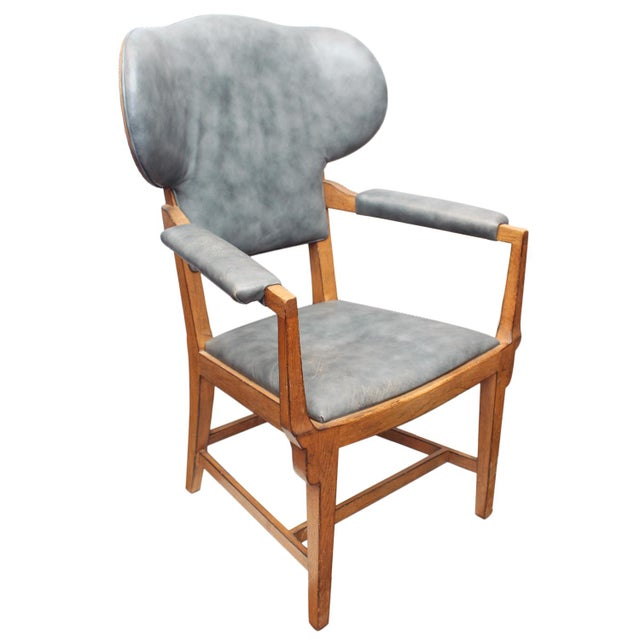 Interior Crafts Blue Leather Chair For Sale - Image 9 of 9