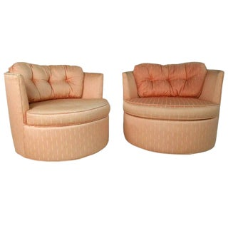 Pair of Vintage Modern Barrel Back Swivel Chairs For Sale