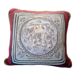 A Set of Vintage Oriental Hand Beaded Pillow With a Royal Elephant.