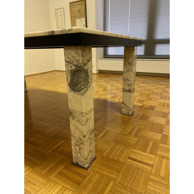 Mid-Century Solid Marble Dining Table - we've used as both dining and conference table. Made of exquisite Calacatta Marble...