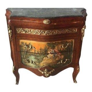 1940s French Handmade Paintings Detailed Chest of Drawers For Sale