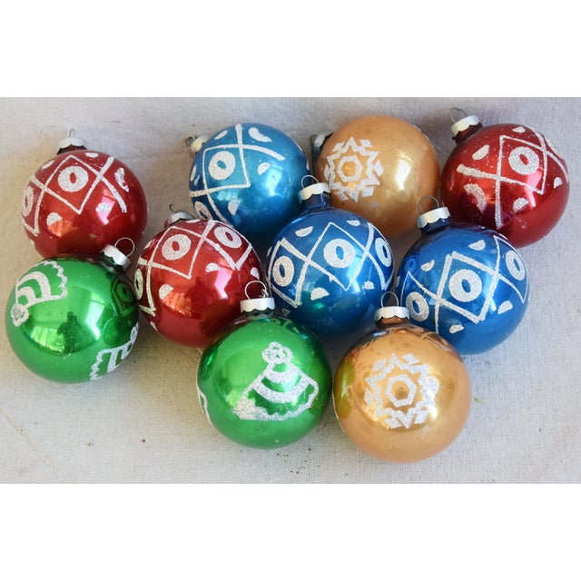 Midcentury Vintage Colorful Christmas Tree Ornaments W/Box - Set of 10 For Sale - Image 9 of 10
