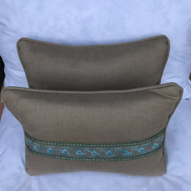Transitional Fortuny Blue & Metallic Gold Pillows - A Pair - Image 4 of 5