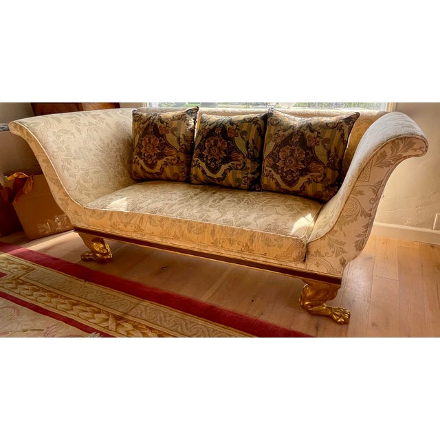 Wood Quatrain Regency Style Giltwood & Mahogany Sofa - Dessin Fournir For Sale - Image 7 of 7