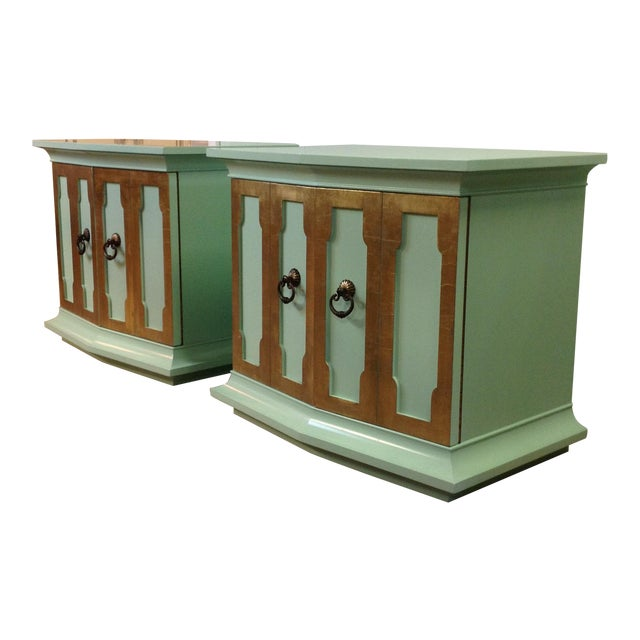 Vintage Painted Wood Side Tables - a Pair - Image 1 of 8