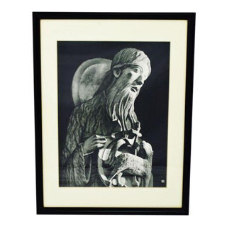 Vintage Framed Black and White Religious Print Jesus and Lamb For Sale