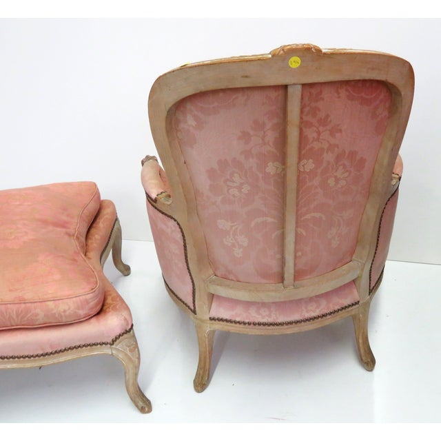 Distressed Painted Louis XV Style Chaise & Ottoman - Image 5 of 5